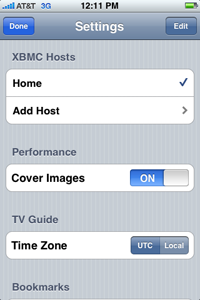 XBMC Remote - Settings