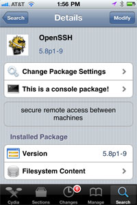 Download OpenSSH on iPhone - Cydia