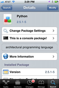 Install Python on iPhone - Cydia
